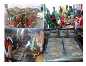 SLP programs participants put their skills to test during the rice chips & rice noodles production training (upper photos) and bread and pastry production training (lower photos).